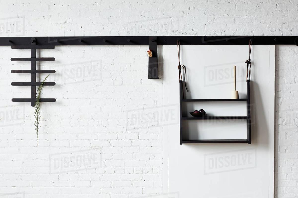 Bespoke coat rack with hanging shelf options Royalty-free stock photo