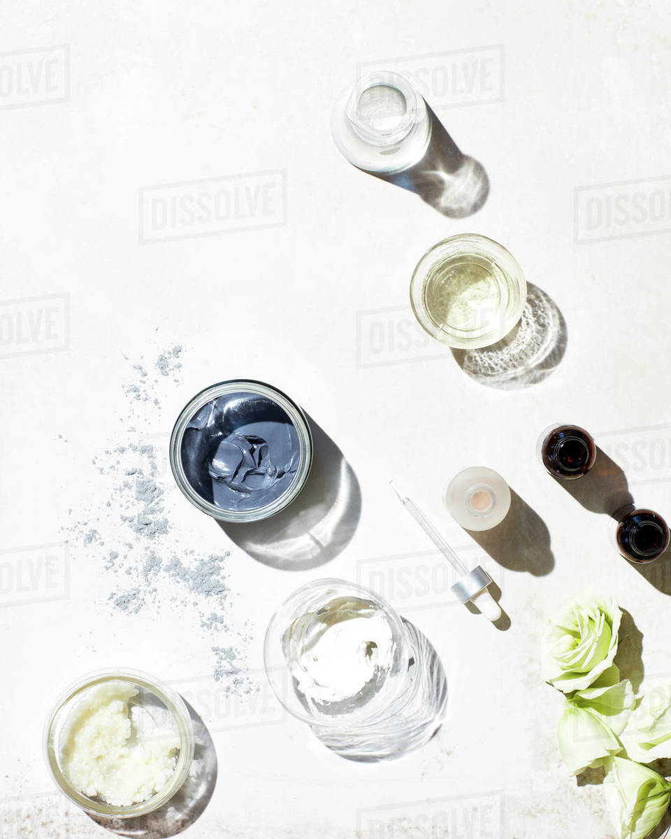 Still life of skincare products textured surface Royalty-free stock photo