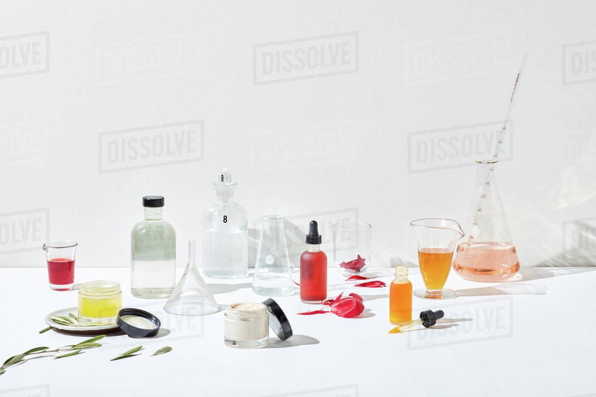 Apothecary of skincare ingredients and glassware Royalty-free stock photo