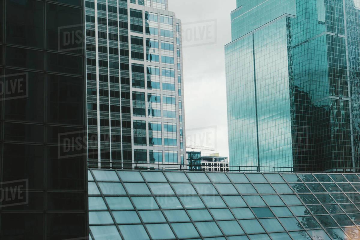 Modern glass buildings in city