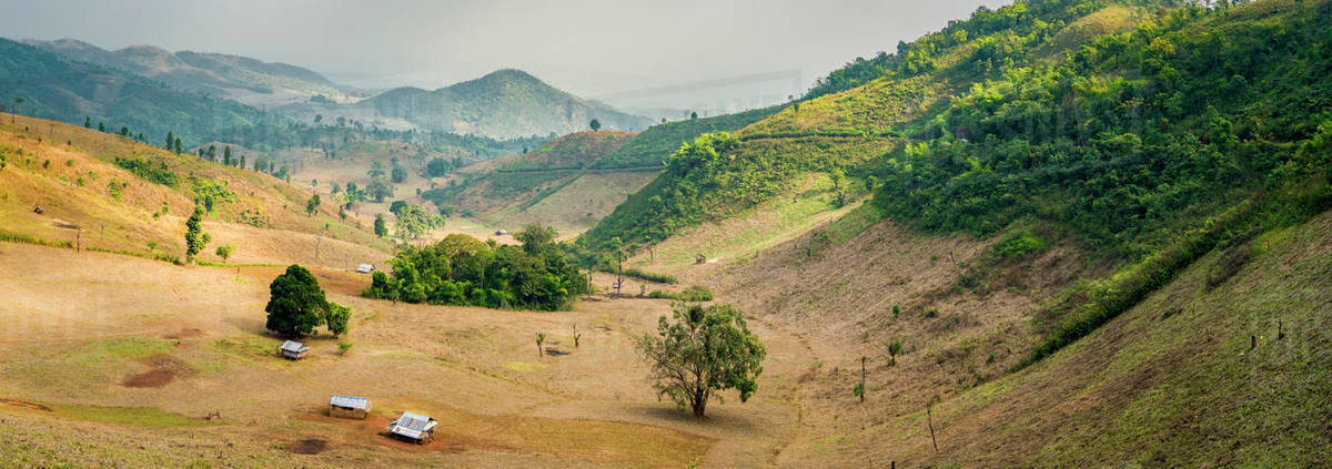 Scenic view of mountainous landscape at countryside near Hsipaw, Myanmar Royalty-free stock photo