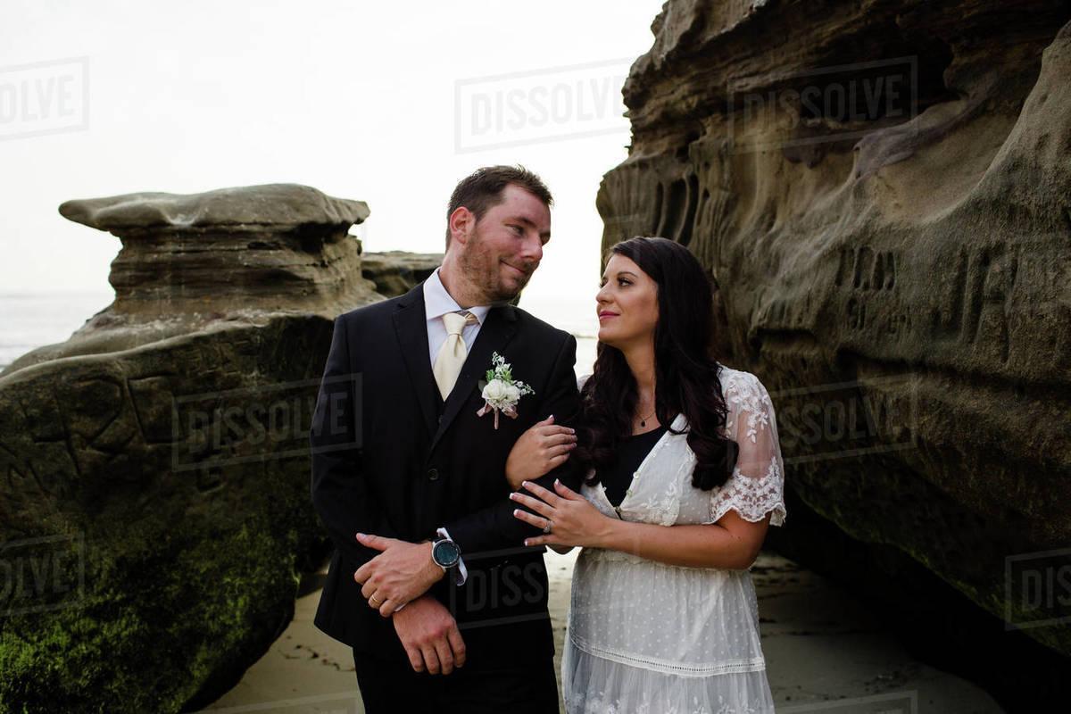 Newlyweds on Beach in San Diego Royalty-free stock photo
