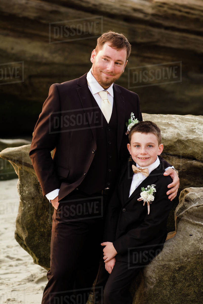Father & Son on Beach in San Diego Royalty-free stock photo