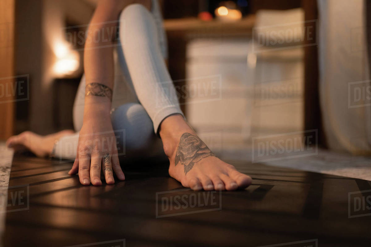 Cropped female stretching and practicing yoga Royalty-free stock photo