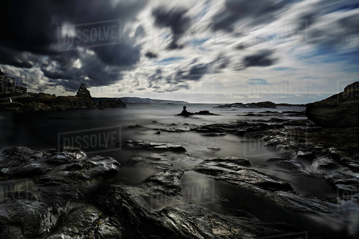 St Ives Bay Long Exposure Standing Stone Dramatic Clouds Royalty-free stock photo