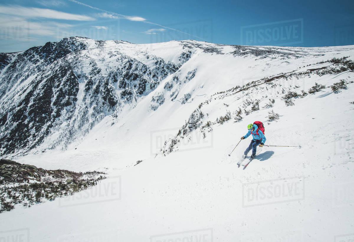 Man skier turning in Tuckerman Ravine, New Hampshire Royalty-free stock photo