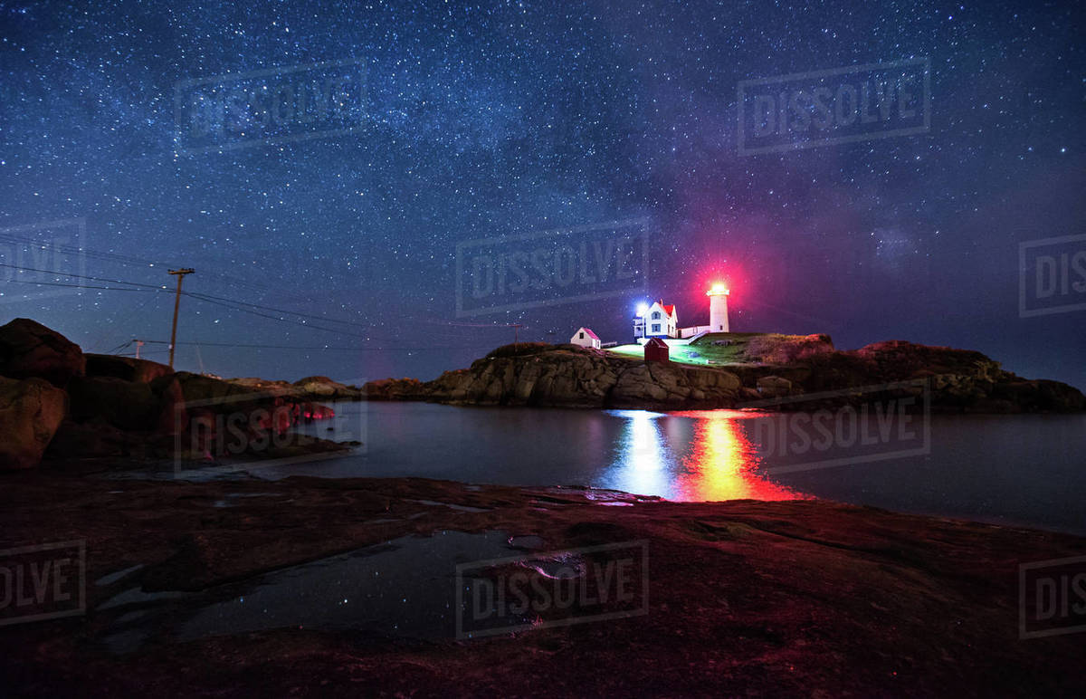 The Nubble Lighthouse in York Maine under the Milky Way Royalty-free stock photo