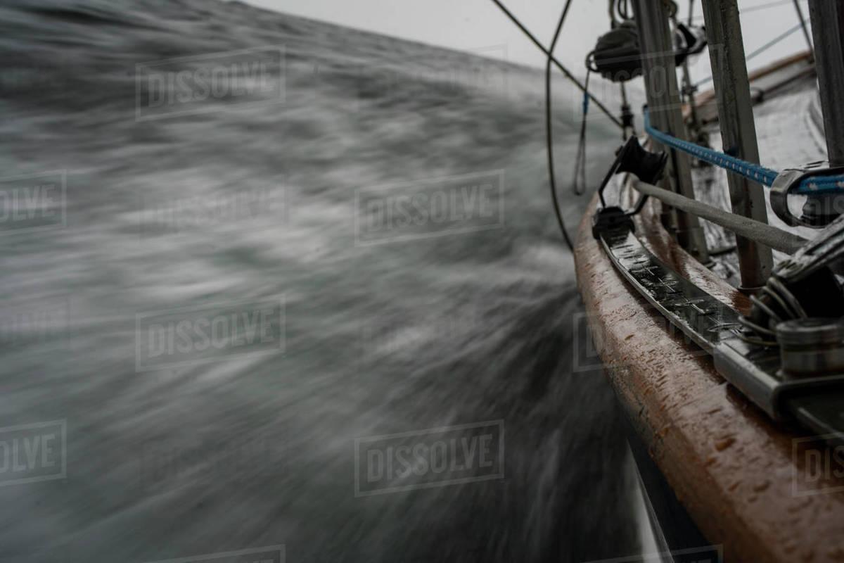 Sailboat Motion Blur Through The Ocean Royalty-free stock photo