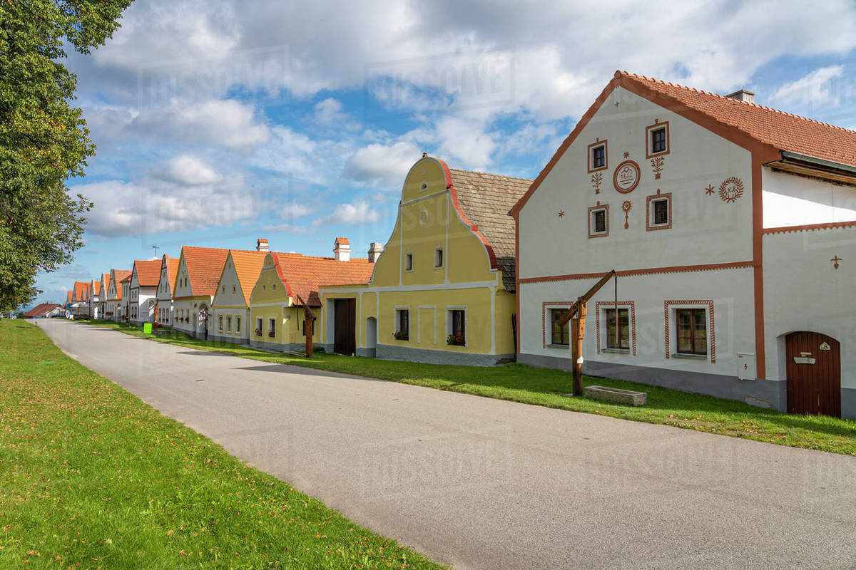 Historical houses at Holasovice Historal Village Reservation. They represent rural baroque style, UNESCO, Holasovice, South Bohemian Region, Czech Republic Royalty-free stock photo