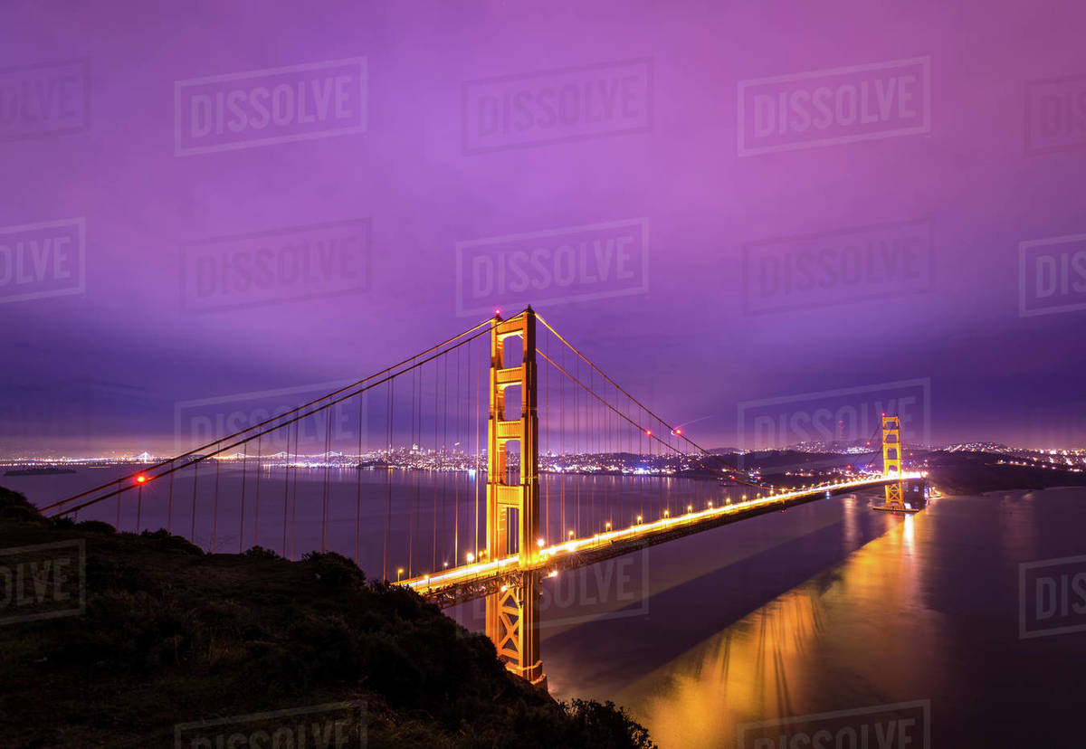 Long exposure of the Golden Gate Bridge at night from Battery Spencer Royalty-free stock photo