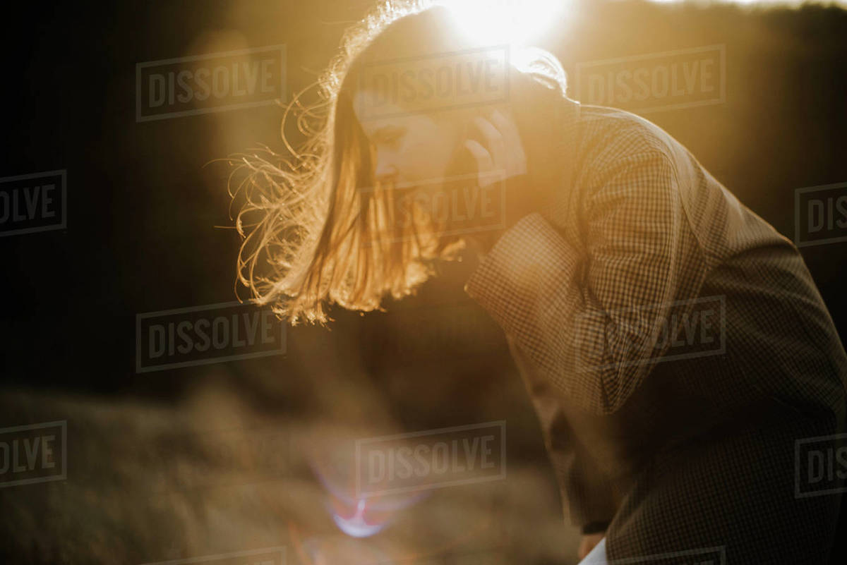 Portrait of a young  woman on a sunny day in autumn Royalty-free stock photo