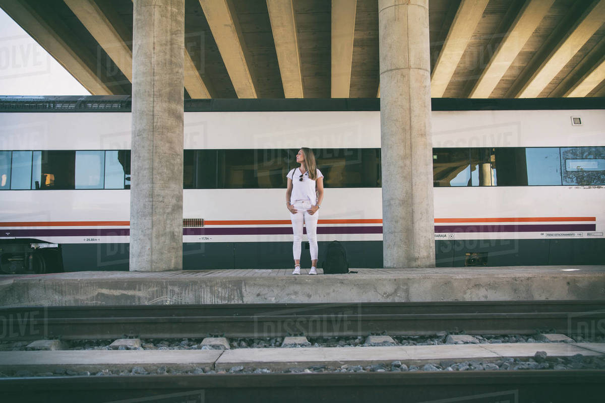 Woman Waiting For The Train. Travel Lifestyle. Royalty-free stock photo
