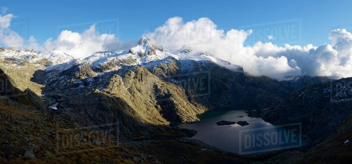 Serrato Peak and Bachimana Lake in Tena Valley, Panticosa Area, Pyrenees, Huesca Province, Aragon in Spain. Royalty-free stock photo