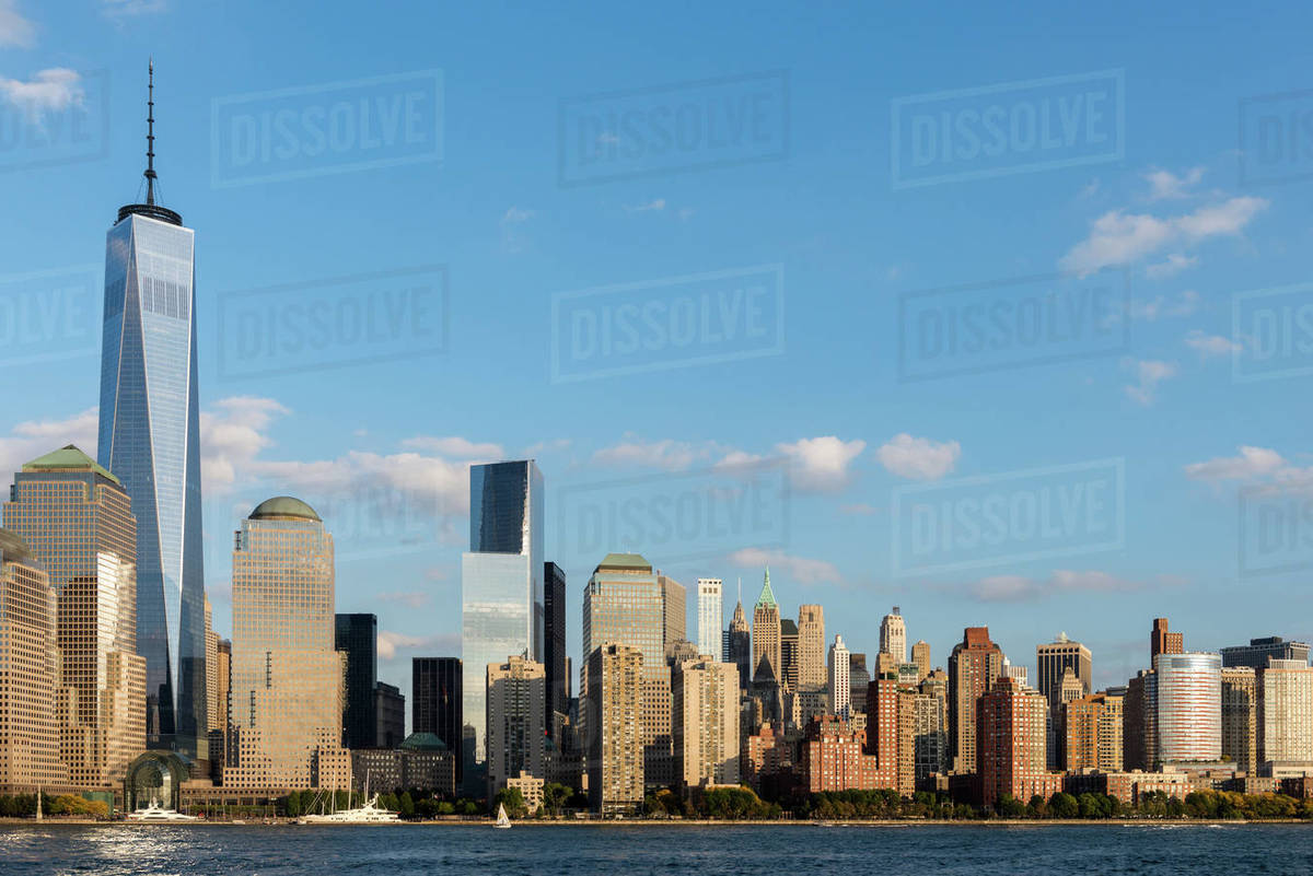 Lower Manhattan skyline at sunset in NYC, USA Royalty-free stock photo
