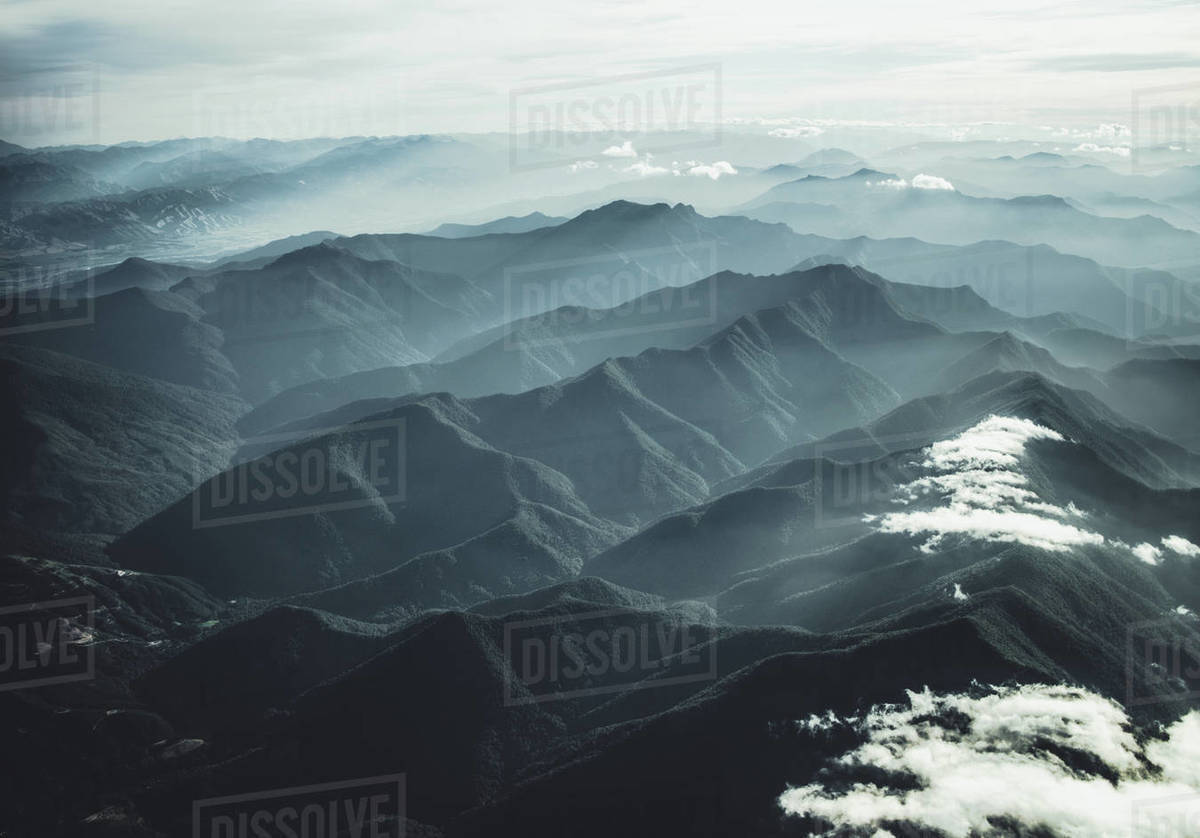 New Zealand South Island mountains seen out window of a small plane Royalty-free stock photo