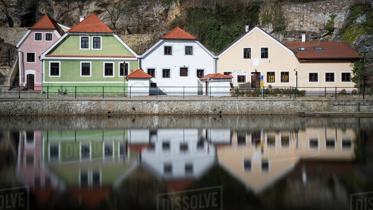 Exterior of houses in front of Vltava river at Cesky Krumlov, Czech Republic Royalty-free stock photo