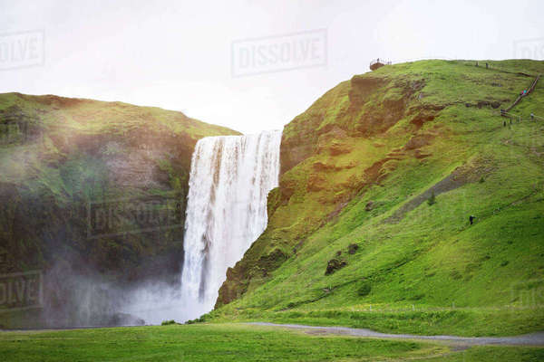 Majestic view of Seljalandsfoss Waterfall against sky Royalty-free stock photo