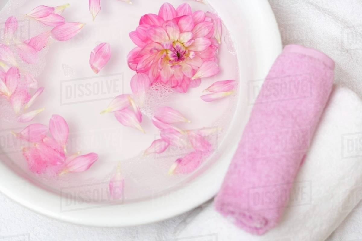 Pink Flower Petals In Bowl Of Water Towels Beside It Stock Photo