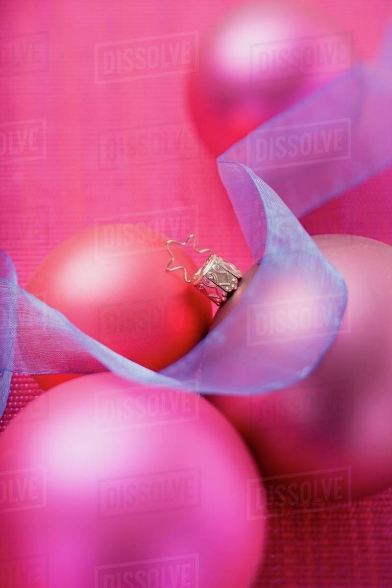 Pink Christmas Baubles With Blue Ribbon