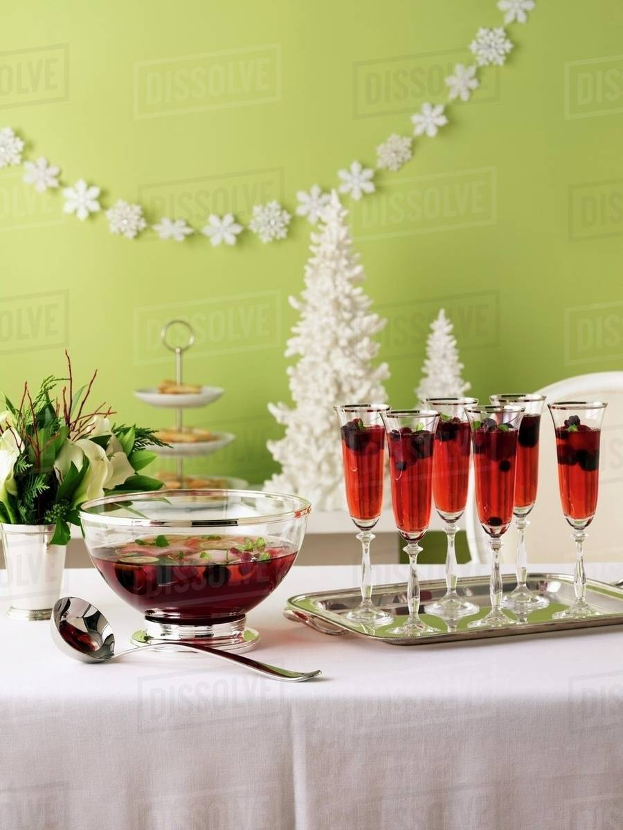 Berry Punch On A Christmas Buffet Table Stock Photo Dissolve