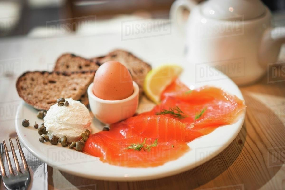 A Healthy Breakfast With Smoked Salmon And Soft Boiled Egg