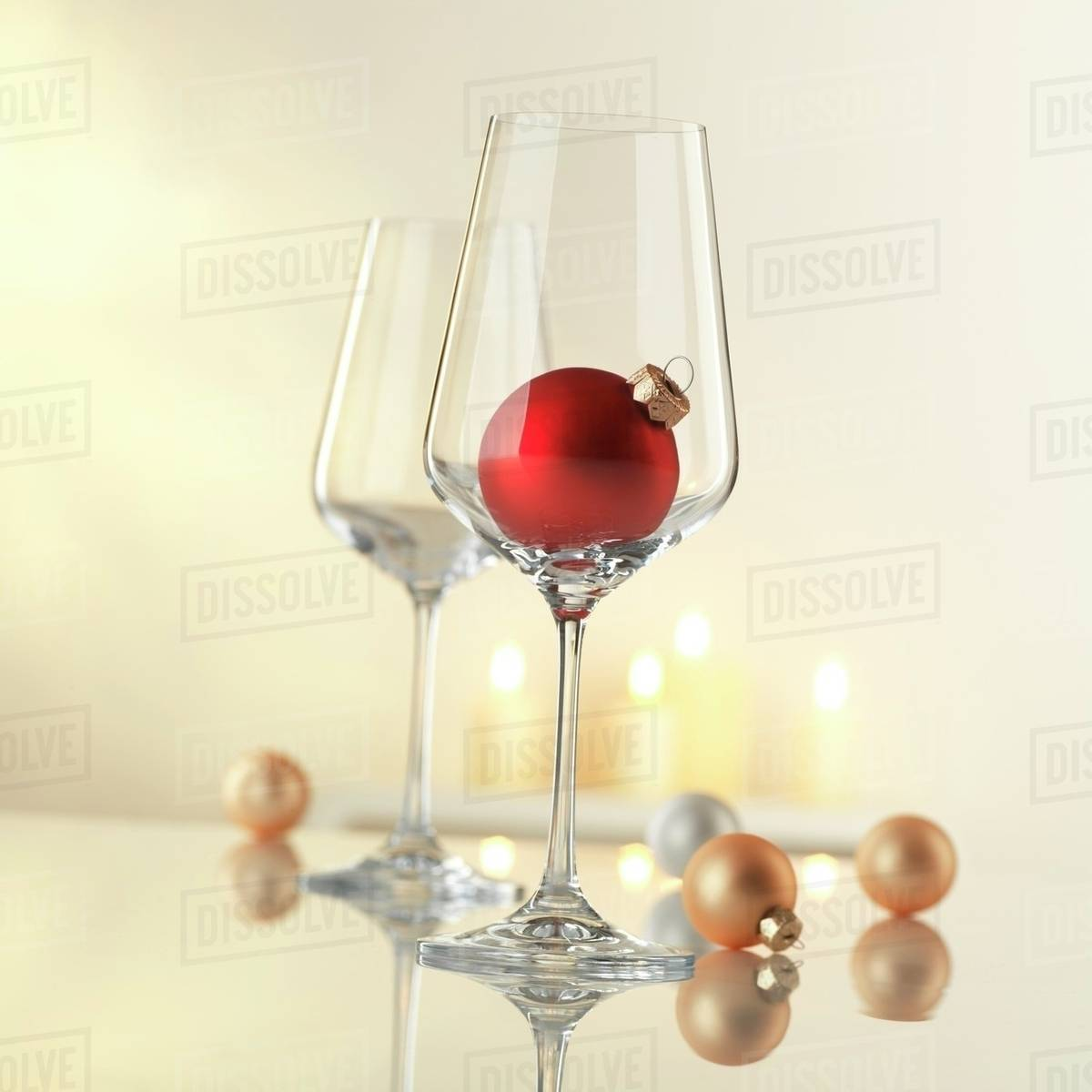 Wine Glasses With Christmas Decorations Stock Photo