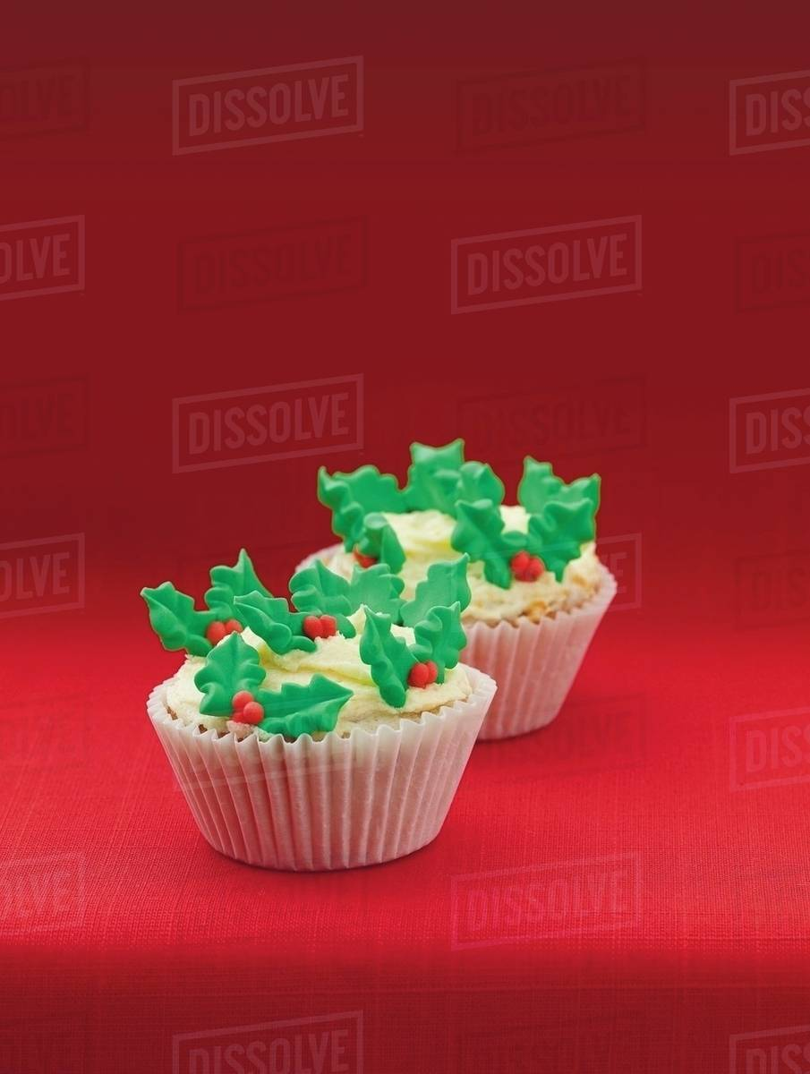 Christmas Cupcakes.Christmas Cupcakes Stock Photo
