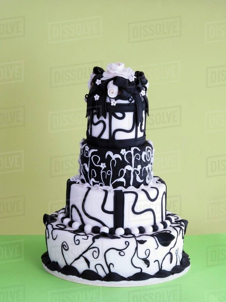 A multi-tier black-and-white wedding cake - Stock Photo - Dissolve