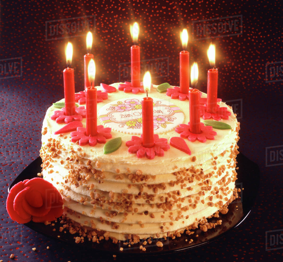 Birthday cake with burning candles stock photo