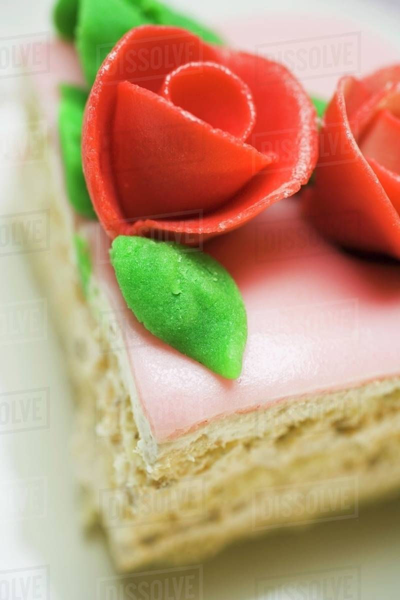 Fabulous Piece Of Birthday Cake With Marzipan Roses Close Up Stock Personalised Birthday Cards Petedlily Jamesorg