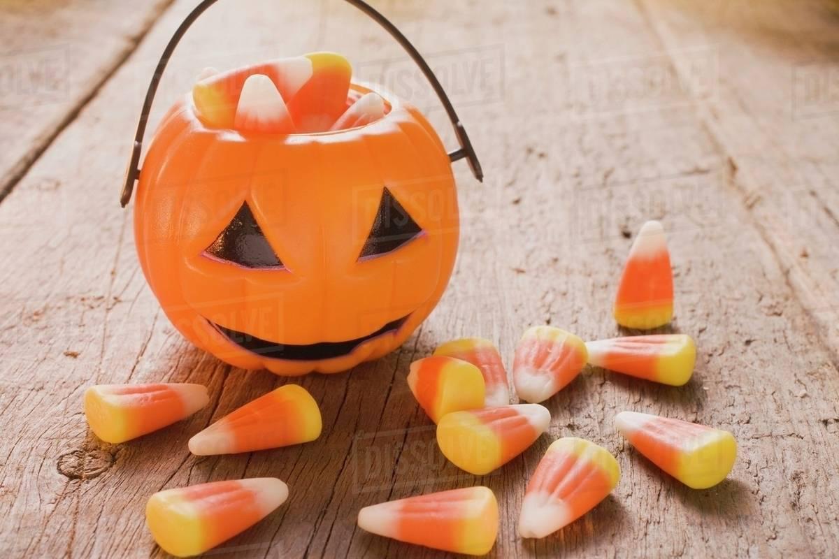 Candy Corn Halloween Sweets Usa Pumpkin Lantern Stock Photo Dissolve