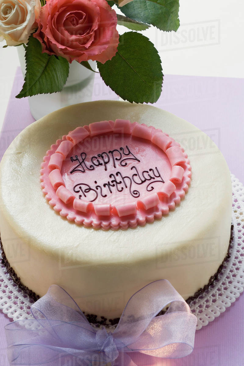Birthday Cake On Pale Purple Box Roses Stock Photo Dissolve