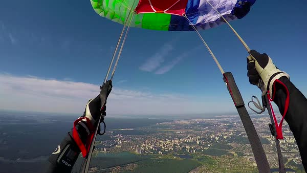 Skydiver is  opening parachute, pov Royalty-free stock video