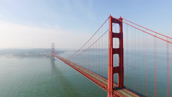 Aerial shot of Golden Gate Bridge in San Francisco CA, USA Royalty-free stock video