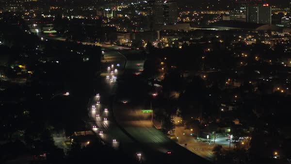 Wide shot over a road at night in San Jose CA, USA Royalty-free stock video