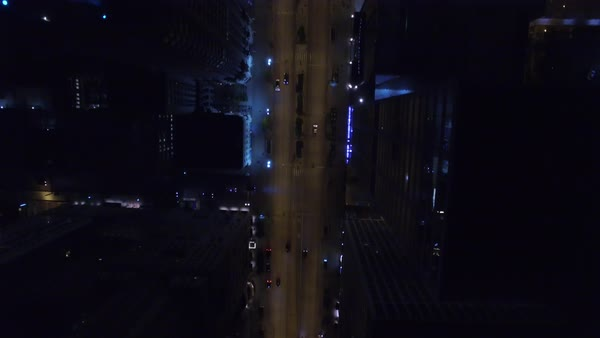 Wide shot over a road in downtown Chicago IL, USA Royalty-free stock video