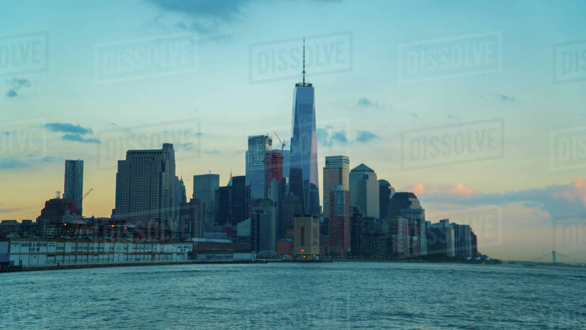 Lower Manhattan Skyline from the Hudson River Royalty-free stock photo