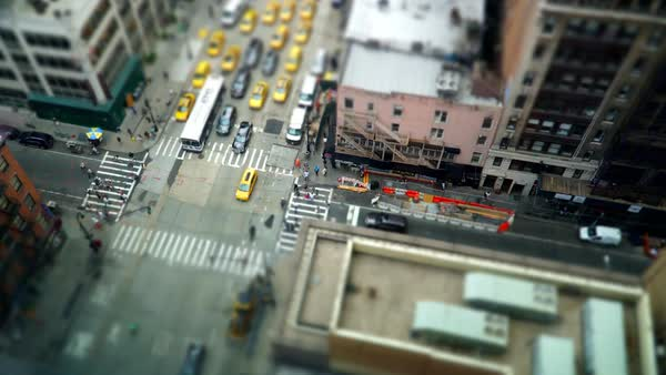 Tilt shift timelapse of traffic at an intersection in New York City Royalty-free stock video