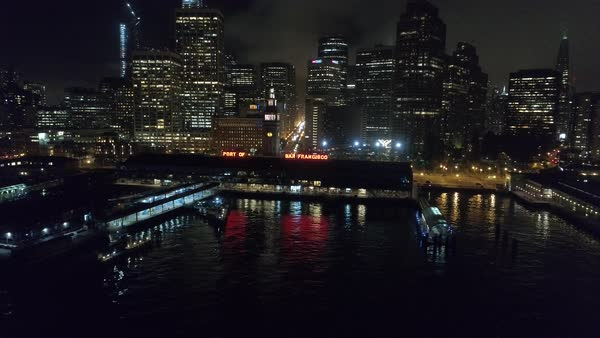 Aerial shot of San Francisco Ferry Building at night Royalty-free stock video