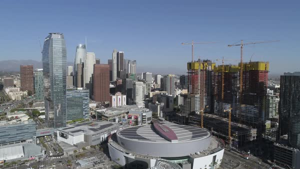 View of Los Angeles skyscrapers and Staples Center Royalty-free stock video
