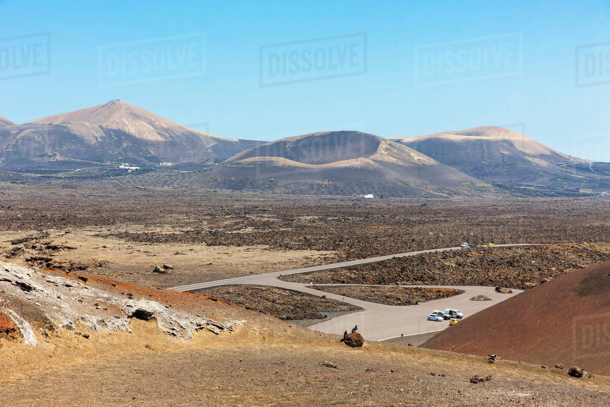 Spain Canary Islands Lanzarote Montanas Del Fuego Timanfaya National Park Stock Photo Dissolve