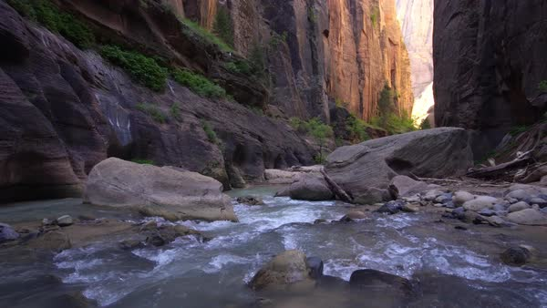 View through the Zion Narrows in Utah as light bounces off the walls. Royalty-free stock video