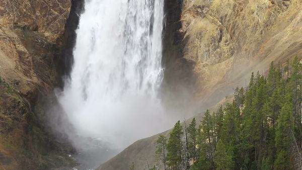 Zoomed in View of Lower Yellowstone Falls as the water crashes below. Royalty-free stock video