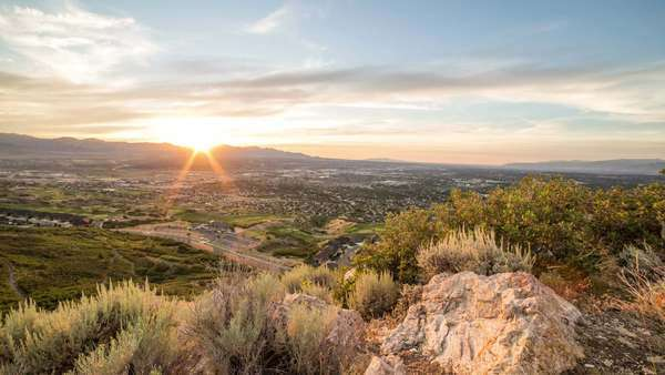 Dolly timelapse overlooking Salt Lake Valley at sunset. Royalty-free stock video