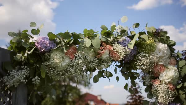 Close Up Of Part Of Wedding Arch With Pink And White Flowers Stock