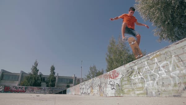 Man skateboarding. Slow motion. Royalty-free stock video