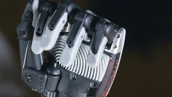 Futuristic robotic cyborg arm in action. Real robotic prosthesis. Royalty-free stock video