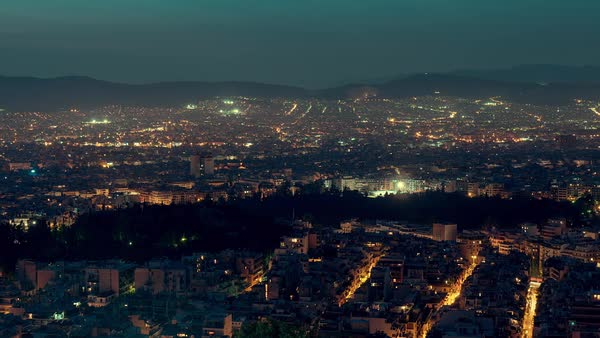 Athens city skyline establishing shot,dusk to night timelapse. Royalty-free stock video