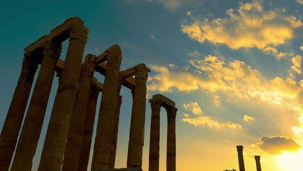 Zoom out sunset timelapse of Greek pillars at the Olympeion (temple of Olympian Zeus) in Athens. Royalty-free stock video