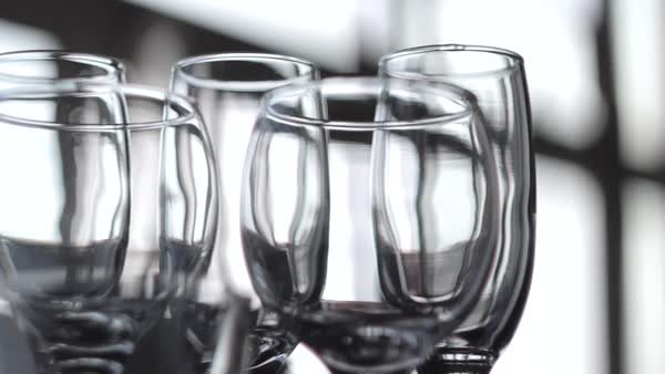 Medium shot of empty wine glasses Royalty-free stock video